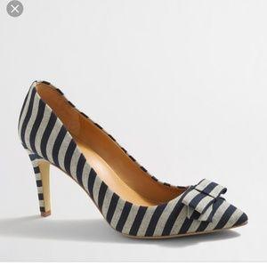J.Crew striped bow heels
